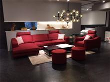 星级酒店用品 创意家具 现代风格 红色布艺沙发 实木框架 自由组合 酒店客房用品